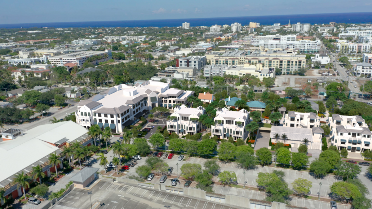 East aerial view of Sundy Village & Downtown Delray